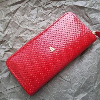Портмоне женское из натуральной кожи красного цвета с тиснением, красная подкладка, красный кошелёк