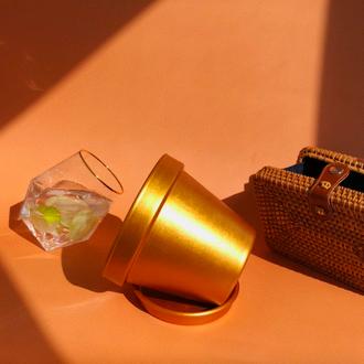 Вазон керамічний (золотий)