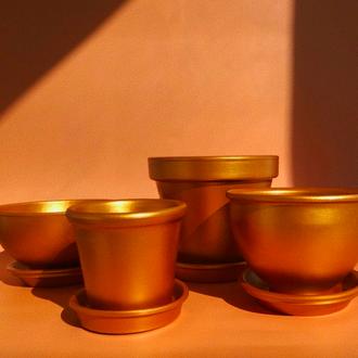 Горшок керамический (золотой)