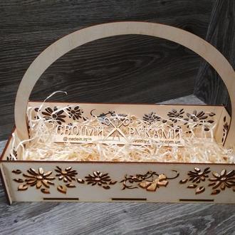 Корзинка, корзина для цветов,  корзина из фанеры