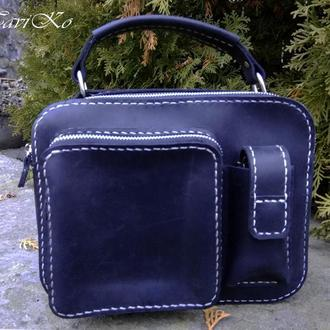 Кожаная сумка-чемоданчик  из кожи Крейзи Хорс