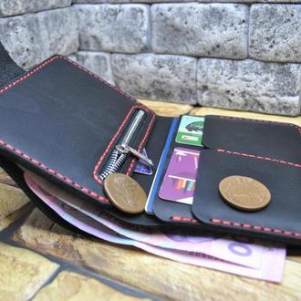 Вертикальный кожаный кошелек K46-0+red