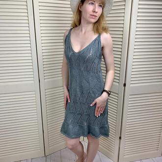 Пляжное платье-сарафан из хлопково-льняной пряжи