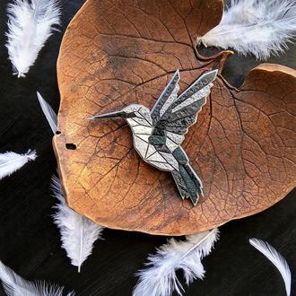 Брошка пташка Колібрі, брошь птица Колибри (в будь-якому кольорі на замовлення)