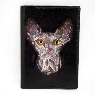 Обложка на паспорт сфинкс, обложка для паспорта с котом, кот на обложке