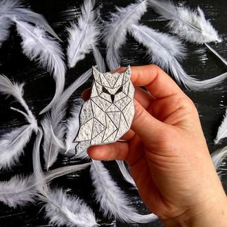 Брошка пташка - Полярна Сова, брошь птица Сова