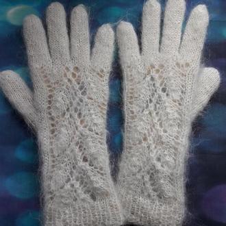 """Перчатки ажурные из белого козьего пуха  """"Дыхание зимы"""""""