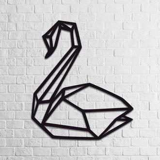 Стильный декор на стену из дерева «Лебедь»