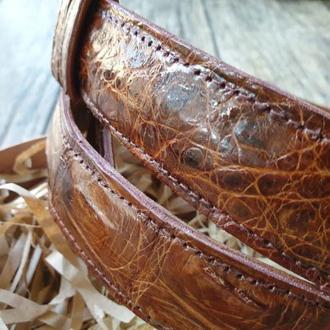 Ремень коричневый из кожи крокодила