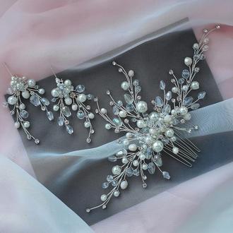 Свадебное украшение для волос, веточка в прическу, комплект украшений гребешок и серьги