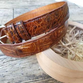 Статусный коричневый шикарный  пояс из кожи крокодила