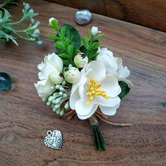 Бутоньерка с белым жасмином Бутоньерка для жениха Бутоньерка для свидетеля