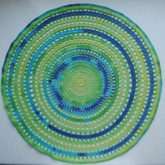 Большая салфетка 48 см / круглая салфетка / вязаная салфетка крючком / стиль батик
