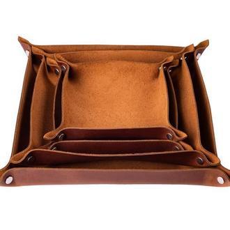 Кожаный трей для прихожей или рабочего стола в 6 цветах на выбор 0128