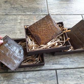 Шикарный кошелёк из натуральной кожи крокодила