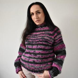 Свитер женский Свитер вязаный Свитер меланжевый серый с ярко розовым и черным