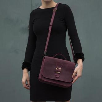 Женская сумка на длинной ручке через плечо бордовый