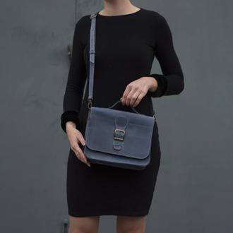 Женская сумка на длинной ручке через плечо голубой