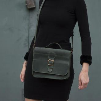 Женская сумка на длинной ручке через плечо зеленый