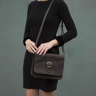 Женская сумка на длинной ручке через плечо коричневый