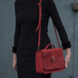 Женская сумка на длинной ручке через плечо красный