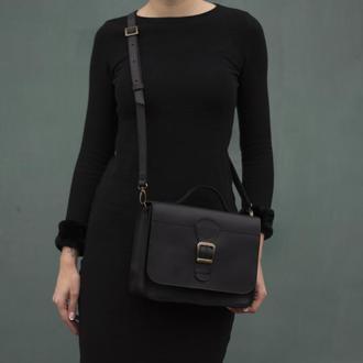 Женская сумка на длинной ручке через плечо черный