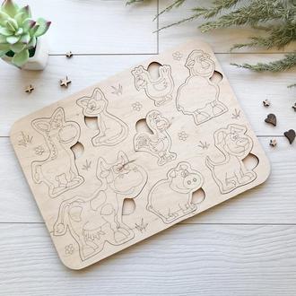 Дерев'яний навчальний сортер дитячий «Домашні тварини»