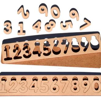 Деревянная Заготовка для Бизиборда Цифры Рамка Вкладыш Набор Цифр 0-9 комплект дерев'яні цифри