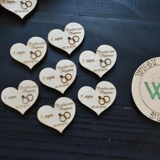 Свадебные фишки сердечки для свадебных конкурсов, как валюта или пригласительные, 1 лира