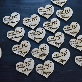 Свадебные фишки сердечки с именами и датой свадьбы, как пригласительные или подарки гостям