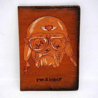 Обложка на паспорт, обложка для паспорта с рисунком, подарок мотоциклисту, подарок байкеру, скидки