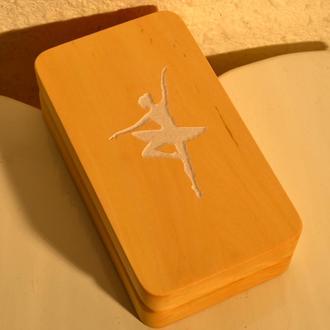 """Шкатулка """"Балерина"""" деревянная ,именная , с гравировкой, подарок."""