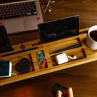 Деревянный органайзер, подставка для клавиатуры, подставка для планшета, подарок начальнику