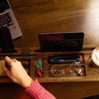Органайзер в офис,организация рабочего места, деревянный органайзер, подарок мужу, коллеге