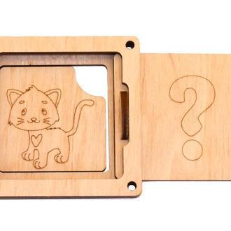 Заготовка для Бизиборда Угадай Кто Там? КОШЕЧКА Котик Котёнок Животные Дверки віконце дверцята