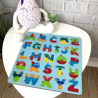 Цветной английский алфавит из дерева для детей