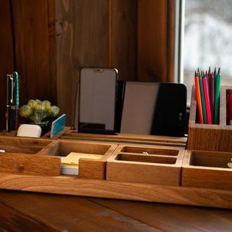 Набор в офис, органайзер для рабочего стола, подарок начальнику, деревянный органайзер