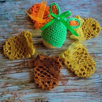 Набор вязаного декора на пасхальное яйцо