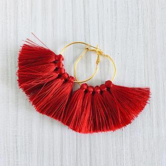 Красные серьги кисточки, серьги кисти, серьги кольца с красными кисточками, сережки веер