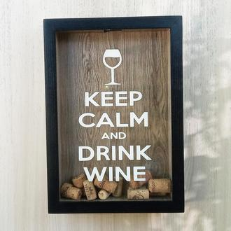 Копилка для винных пробок - Keep Calm and Drink Wine #4