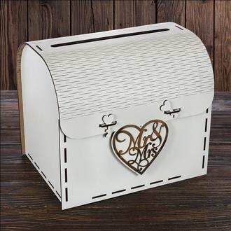 """SD-00120 - Свадебный деревянный сундук""""Mr & Mrs"""""""