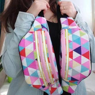 Сумка-бананка с треугольниками, поясная сумка, барыжка, наргудная сумка 25