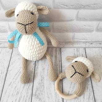 Овечка, вязаная игрушка, подарок для детей