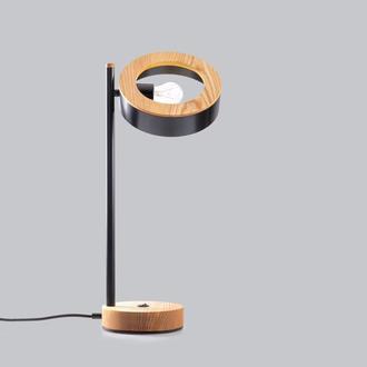 Современная дизайнерская настольная лампа лофт из массива ясеня и металла