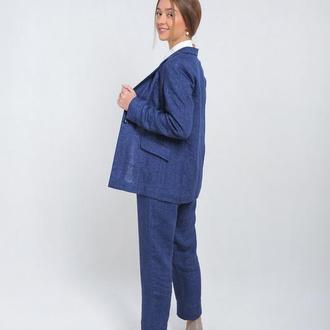 Пиджак с карманами в рамку, темный джинс