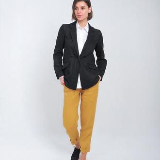 Пиджак с карманами в рамку, черный