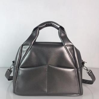 Серебряная спортивная женская сумка, экокожа
