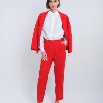 Классические брюки на поясе, темно-красный