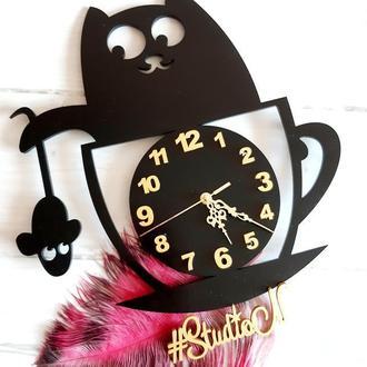 """Часы настенные """"Кошка в чашке """" из дерева 40 см"""