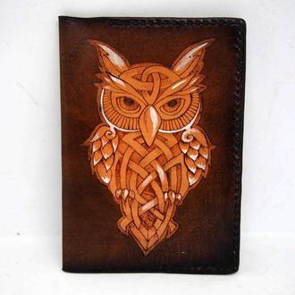 Обложка на паспорт с совой, сова на обложке, обложка для паспорта сова